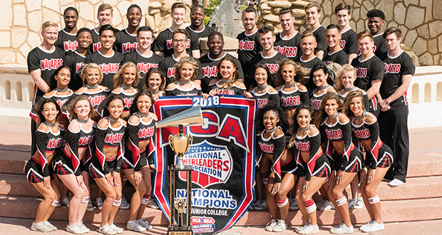 The Navarro College Cheerleaders won the National Title and Grand National Champion at NCA College Nationals 2018. Courtesy photo/Jerry Hughes.