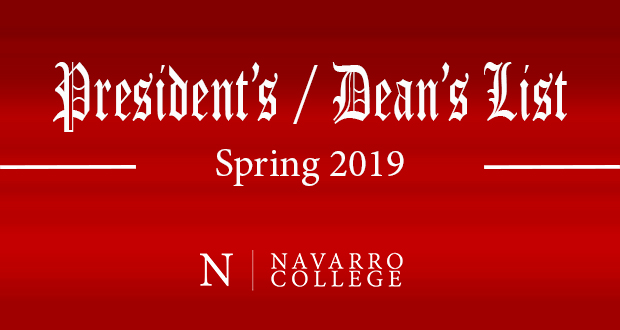 Spring 2019 President's and Dean's Lists
