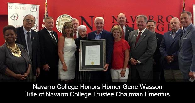 Navarro College Honors Homer Wasson