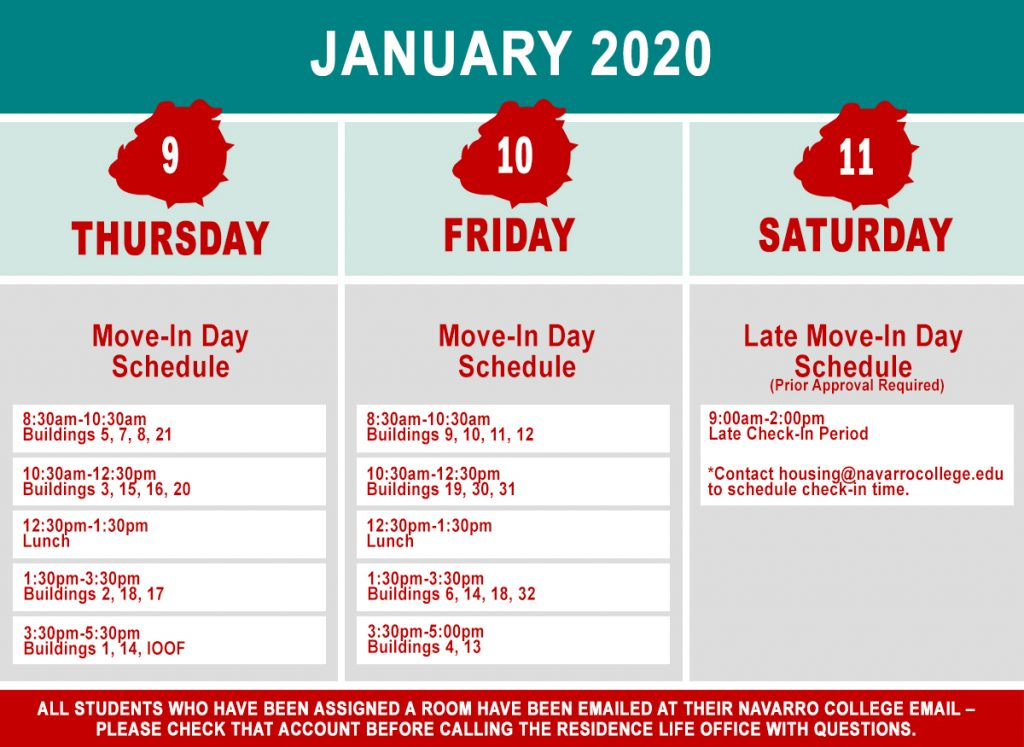 Spring 2020 Move-in Dates